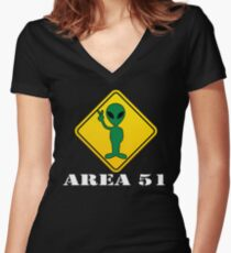 Alien Transit Sign T-shirt Martian UFO Area 51 Tshirt Women's Fitted V-Neck T-Shirt