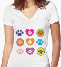 Dog Pola Women's Fitted V-Neck T-Shirt