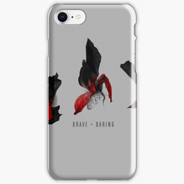 Brave And Daring Quote On Minimal Floral Background iPhone Snap Case