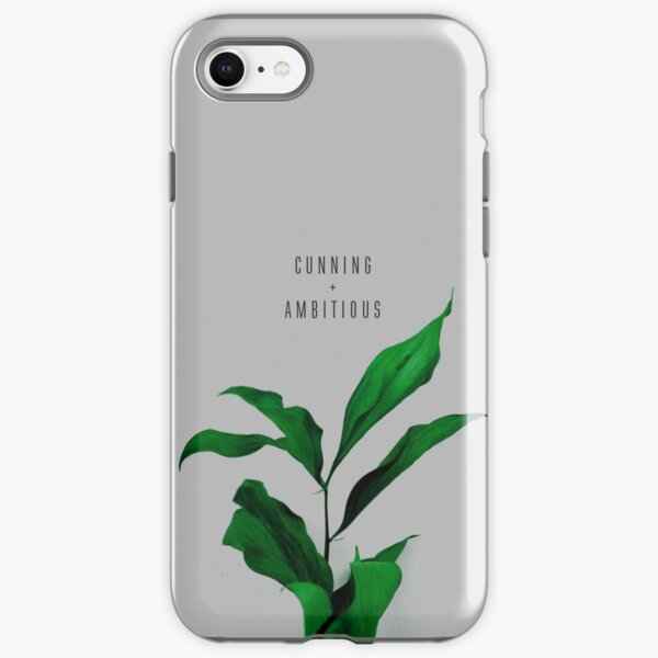 Cunning And Ambitious Quote on Green Floral Background iPhone Tough Case