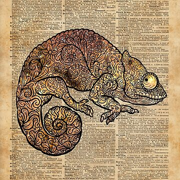 Space Chameleon Zentagle Dictionary Art by DictionaryArt
