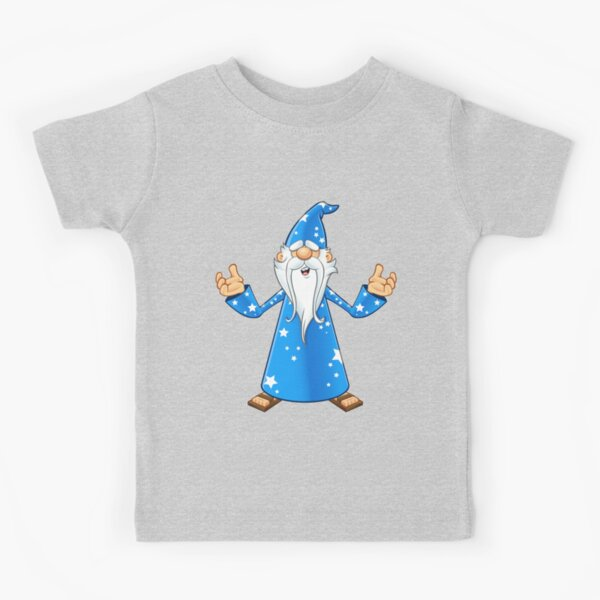 Blue Old Wizard Looking Confused Kids T-Shirt