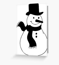 Snowman, winter, Christmas, cold, snow, snowflakes Greeting Card