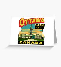 Ottawa Ontario Canada Vintage Travel Decal Greeting Card