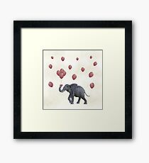 Elephant With Balloons Framed Print