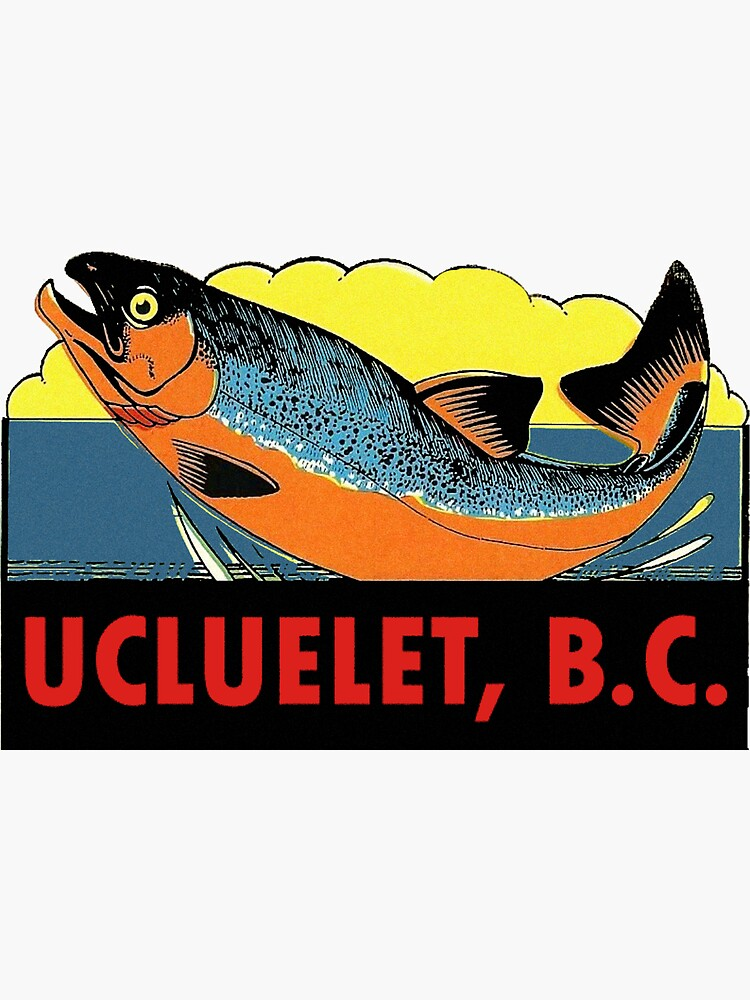 Ucluelet BC Salmon Fishing Vintage Travel Decal by hilda74