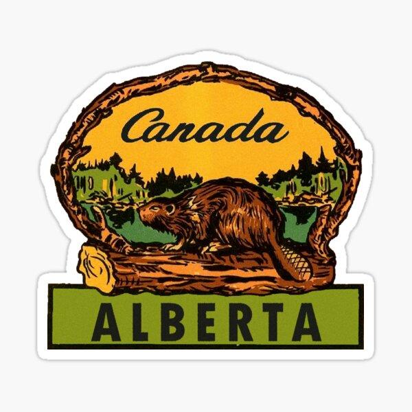 Alberta Beaver AB Canada Vintage Travel Decal Sticker