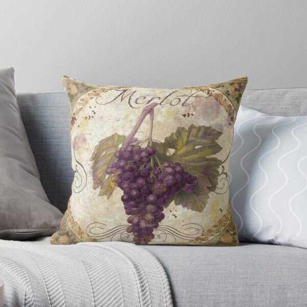 Tuscan Table Merlot Wine Grapes Throw Pillow
