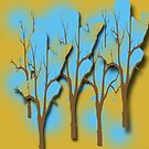Trees in Blue Abstract  by hickerson