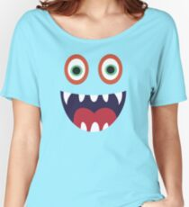 Cool Happy Monster Face T-shirt Cute Smily Face Kids Tshirt Women's Relaxed Fit T-Shirt