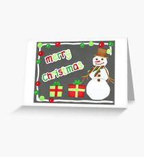 Merry Christmas Snowman Card Greeting Card