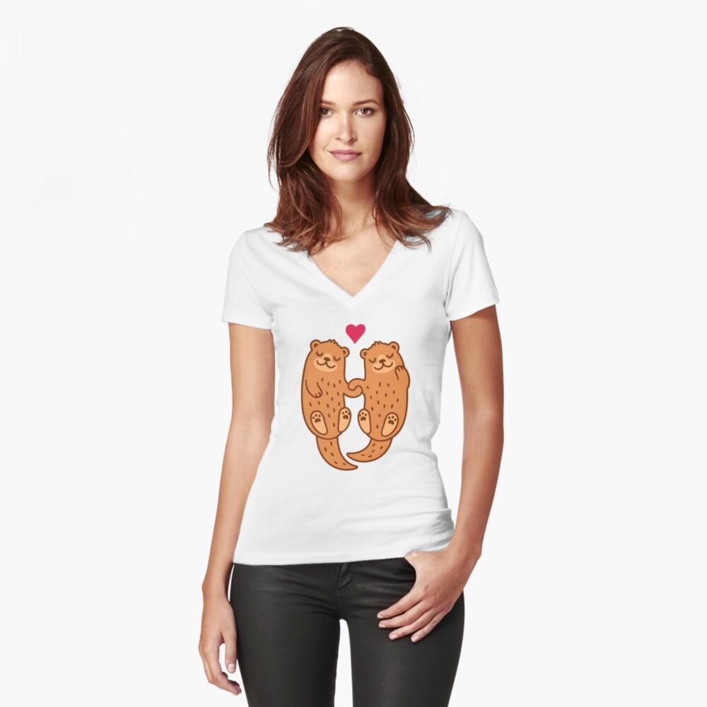 Otterly bezaubernd Tailliertes T-Shirt mit V-Ausschnitt