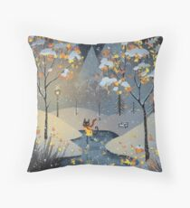 Ice Skating Cat Throw Pillow