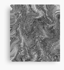 black and white curly line drawing abstract background Canvas Print