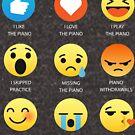 I Love the Piano Pianists Emoji Emojis Emoticon Graphic Tee Shirt Funny T-Shirt by DesIndie