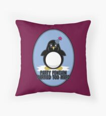Party Penguin Partied Too Hard Throw Pillow