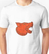 Mad Mongrel Hundekopf Barking Mono Line Unisex T-Shirt