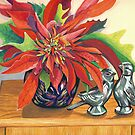 Lovebirds with Poinsettia by marlene veronique holdsworth