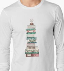 Pink and Blue Floral Bookstack T-Shirt