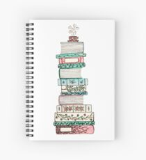 Pink and Blue Floral Bookstack Spiral Notebook