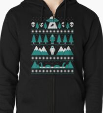 Paranormal Christmas Sweater Zipped Hoodie