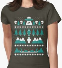 Paranormal Christmas Sweater Womens Fitted T-Shirt