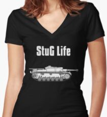 StuG Life - Military History Visualized (Vertical Version) Women's Fitted V-Neck T-Shirt