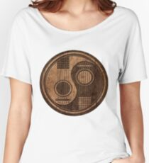 Wooden Bass Guitar T Shirt - Music Pulse, Notes, Clef, Frequency, Wave, Sound, Dance Women's Relaxed Fit T-Shirt
