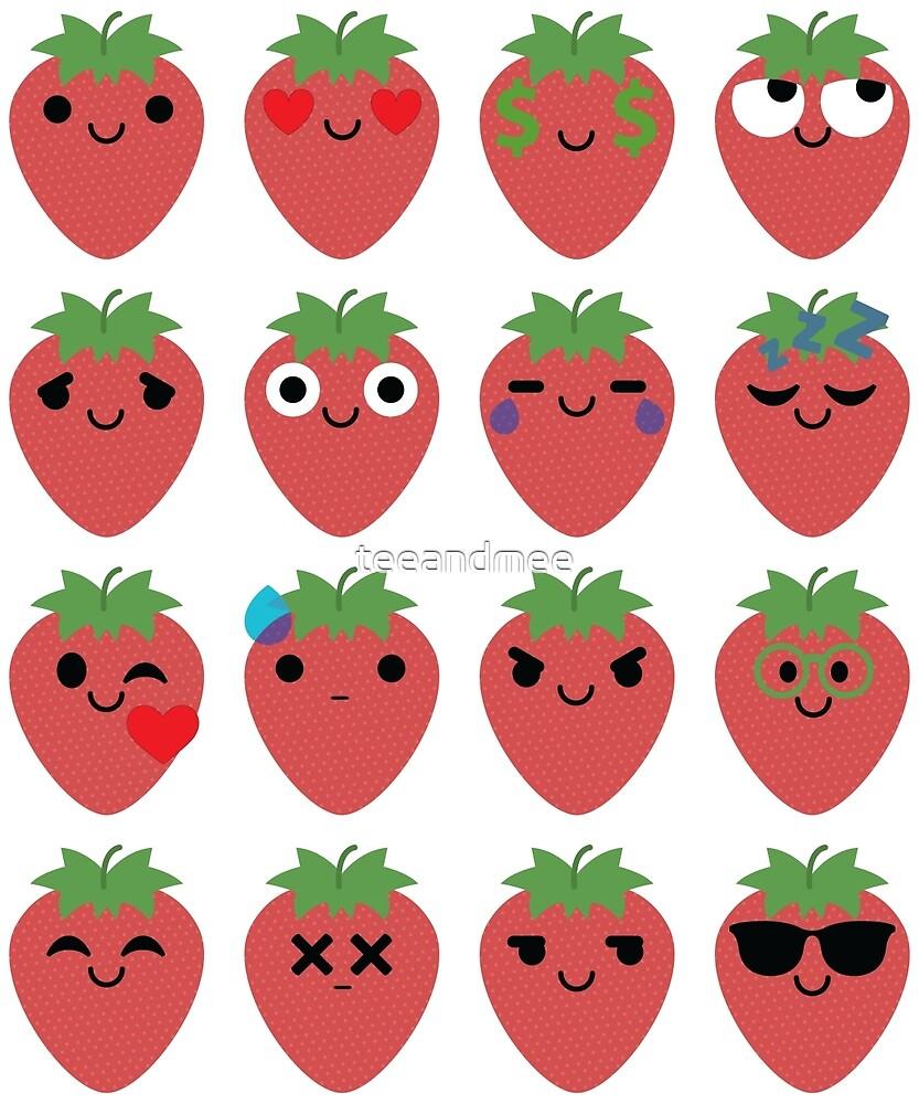 Strawberry Emoji Different Facial Expression