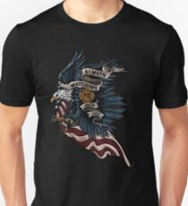 Firefighter Fireman Paramedic Rescue Patriotic Hero Eagle Flag USA Fire red white blue T-Shirt