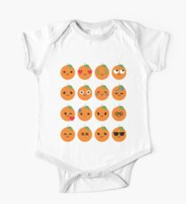 Orange Emoji Different Facial Expression One Piece - Short Sleeve