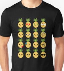 Pineapple Emoji Different Facial Expression T-Shirt