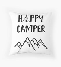 Happy Camper quote + Mountain for Kids Room Throw Pillow