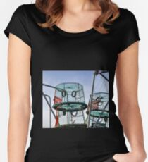 Lobster Pots at Lyme Dorset UK Women's Fitted Scoop T-Shirt