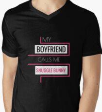 My boyfriend calls me snuggle bunny T-Shirt Mens V-Neck T-Shirt