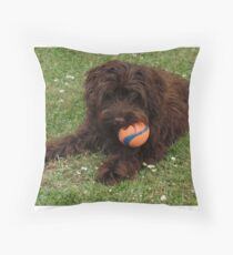 Cockapoo Puppy with Ball Throw Pillow