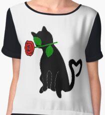 Cute Black Cat Red Rose Love Valentine Gift Women's Chiffon Top