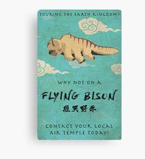 Vintage Flying Bison Travel Poster Canvas Print