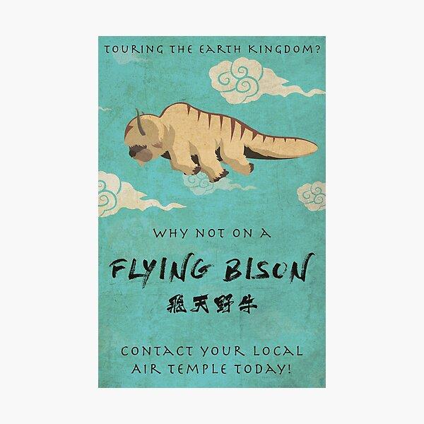 Vintage Flying Bison Travel Poster Photographic Print