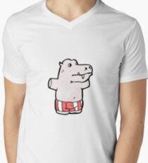 cartoon hippo Men's V-Neck T-Shirt