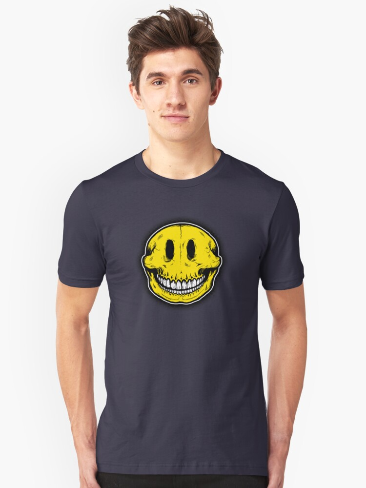 Smiley Skull Sketch Unisex T-Shirt Front