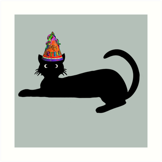 Laminas Artisticas Feliz Cumpleanos Lindo Gato Negro De