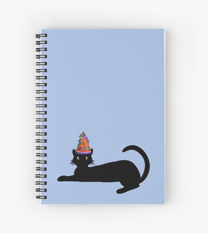 Cuadernos De Espiral Feliz Cumpleanos Lindo Gato Negro De