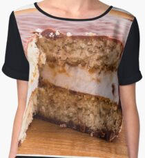 Biscuit with chocolate and a layer of milk souffle Women's Chiffon Top