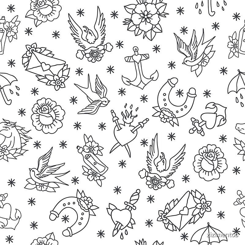 783540b50 ... illustration Art Print. doodle pattern. traditional tattoo flash  illustration by zizimentos