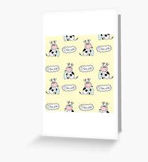 Cute cartoon cow with milk Greeting Card