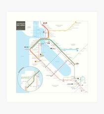 San Francisco Bay Area Transit Map Art Print