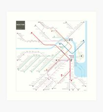 Boston metro subway map Art Print