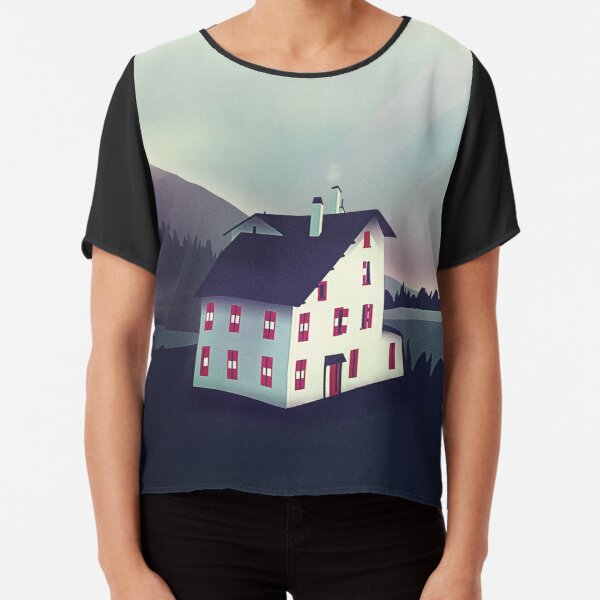 Castle in the Mountains Chiffon Top