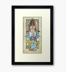 Lady of March with Daffodils and Birch Trees Easter Resurrection Maiden Mucha Inspired Birthstone Series Framed Print